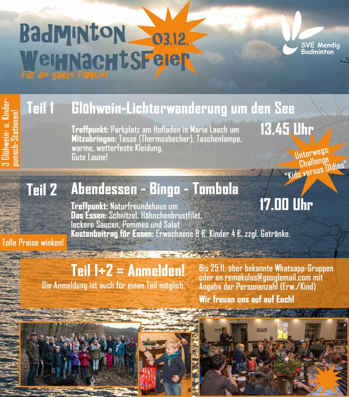 Weihnachtsfeier 2017 | SVE-Mendig Badminton